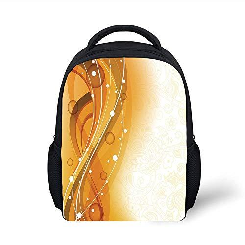 Kids School Backpack Orange,Abstract Curves Color Bubble Like Dots Simple Floral Artistic Decorative,Orange Dark Green White Plain Bookbag Travel Daypack - Floral Print Bubble