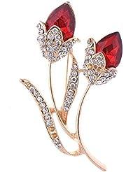 Mcitymall77 elegante de la flor roja doble elemento de Swarovski Broche