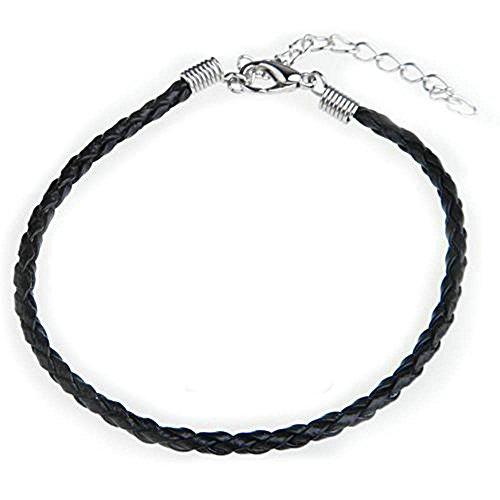 sodialr-10-x-black-leather-bracelet-cord-fits-charm-beads-012-hot