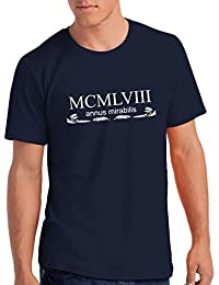 Mens 1958 Annus Mirabilis 60th Birthday / Anniversary T Shirt Gift with Year Printed in Roman Numerals