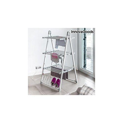 innovagoods Wäschespinne Elektrische zusammenklappbar Aluminium und ABS, grau, 66x 73x 135cm