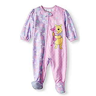 AME Winnie The Pooh Newborn Micro Fleece Footed Pajama Baby Girls 12 Months Pink Purple