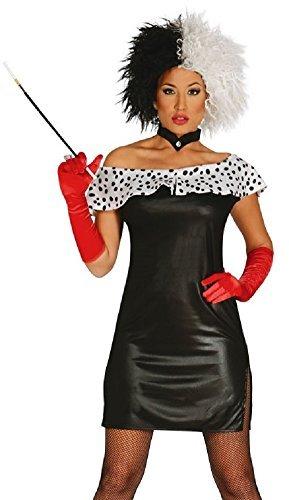 Damen Sexy Böse Dalmatiner-Bösewicht Film Halloween Kostüm Kleid Outfit - Schwarz, UK 12-14 (Film Fancy Dress Kostüme Uk)