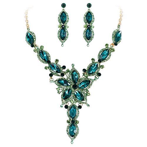 Ever Faith Damen Marquise Kristall Blume Braut V Form Halskette Ohrringe Set Grün Gold-Ton -