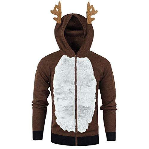 KPILP Weihnachtspullover Herren Kapuzenpullover Hoodies Sweater Rentier Pullover Winter Warm Outdoor Langarm Sweatshirt Pullis Männer Faux Fur Weihnachten Pollover Cosplay