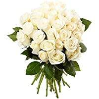 Floral Fantasy Fresh Flower Bouquet (Bunch Of 20 White Roses)