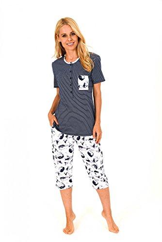 Baumwoll-capri-pyjama-hose (Damen Capri Pyjama kurzarm - tolle Optik - 171 204 90 881, Größe:40/42;Farbe:marine)
