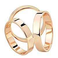 Maikun Scarf Ring Modern Simple Triple-ring Scarf Ring Golden-Tone Color Size L