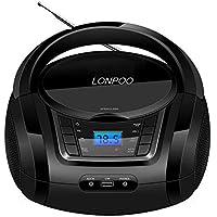 Radio portatili Boombox, LONPOO Lettore CD Bambini Stereo Audio con Bluetooth, Radio FM, USB, AUX-IN, Uscita cuffie (nero)