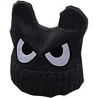 Cute Big Eyed niños tejidos a mano Resil invierno sombrero suave bebé caliente Cap, gris2