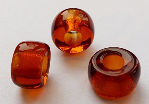 20(PCS) X 9mm großes Loch Ring Spacer Rondelle Pony Crow Tschechische Glasperlen-Topaz braun-Lily - Rondell Czech Pressed Glass Bead