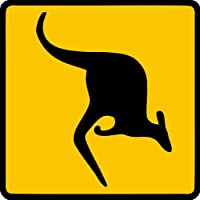 Sticker / Decal - JDM - Die cut - Kangaroo Sign Caution Crossing Bumper Sticker 114mmX114mm