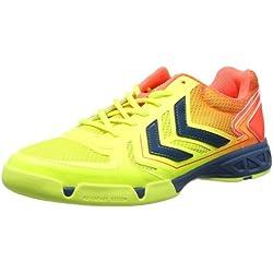 Hummel CELESTIAL COURT X5 60-057-5997 - Zapatillas deportivas para unisex-adultos, color varios colores, talla 42 EU (8 Erwachsene UK), multicolor - Mehrfarbig (Safety Yellow/Firey Coral 5997), 43