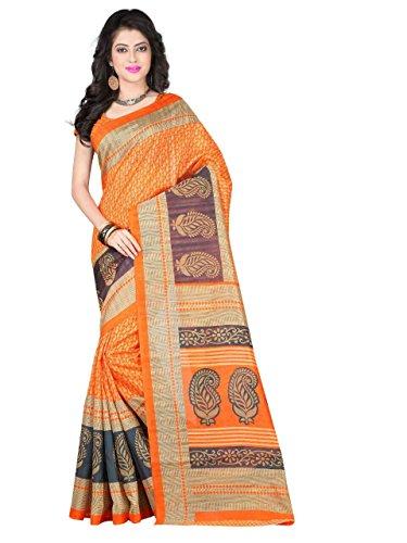 Kanchan Women Wedding Bhagalpuri Art Cotton Silk Printed Saree For Ladies & Girls (Silky Touch Jai Ho Orange_Multi-Coloured)  available at amazon for Rs.299