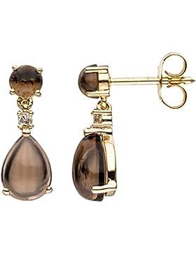 JOBO Ohrhänger 585 Gold Gelbgold 2 Diamanten Brillanten 4 Rauchquarz-Cabouchons braun