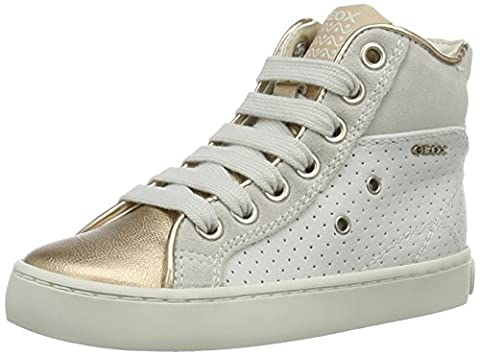 Geox - JR Kilwi Girl - Sneakers Hautes - Fille - Blanc (White/goldc0411) - 24 EU