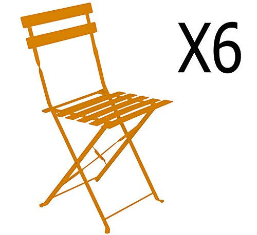 PEGANE Lot de 6 chaises Pliantes en Acier Coloris Mandarine - Dim: 42 x 46 x 80 cm