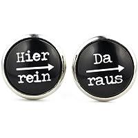 """SCHMUCKZUCKER Damen Ohrringe mit Witzigem Spruch-Motiv """"Hier rein - da raus"""" Silber-farbene Runde Modeschmuck Ohrstecker Schwarz Ohrschmuck für Damen und Herren 14mm - kreiert in Deutschland"""