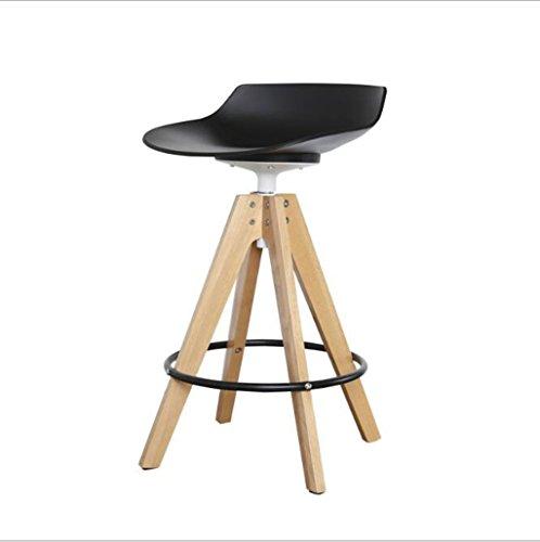 Tabouret en bois Tabouret de bar en bois massif nordique moderne minimaliste chaise haute tabouret haut pivotant bar chaise réception tabouret de bar / 65cm, 75cm (Couleur : Blanc, taille : 75cm)