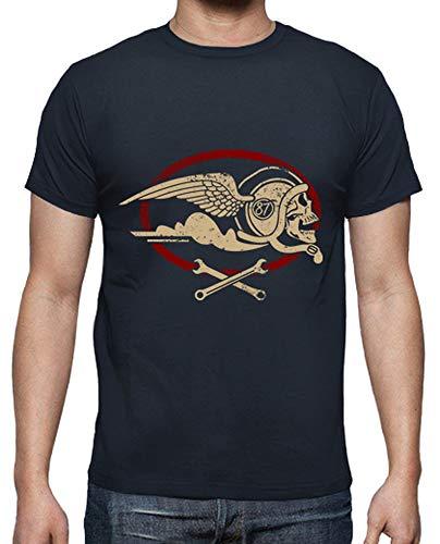 tostadora - T-Shirt, Manica Corta, Nera, Uomo Blu Marino S