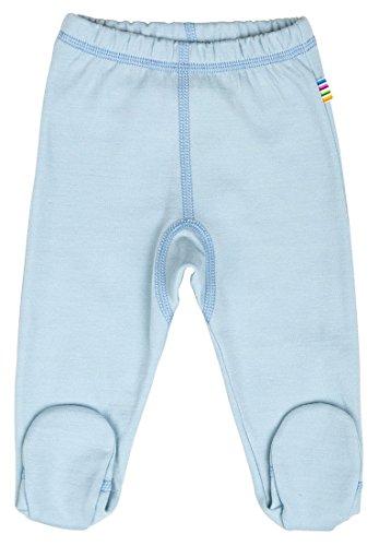 JOHA Baby Jungen Hose mit Fuss Strampelhose INUIT SOLID aus Merinowolle und Bio-Baumwolle in blau Größe 50 (0-1 Monat)