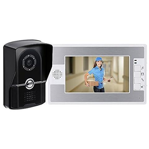 KKmoon 7 Inch TFT Couleur écran Visiophone Intercom Porte Sonnette Système de Sécurité Kit IR Caméra Moniteur Speakerphone Intercom
