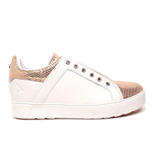 APEPAZZA Zapatos de Mujer Zapatillas de Deporte Bajas RSW05 Cuña Interna/Ternera Roxane Blanco/Rosa Talla 36 Blanco/Rosa