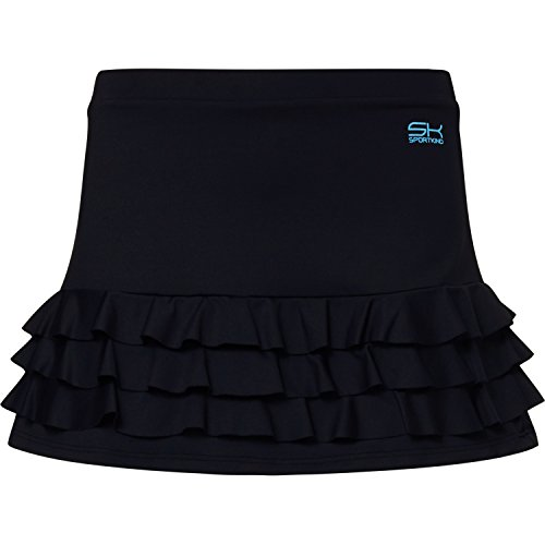 Sportkind Mädchen & Damen Tennis / Hockey / Golf Rüschenrock mit Innenhose, schwarz, Gr. 140