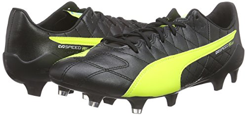 Puma evoSPEED Super Light Lth Firm Ground  Men s Football Training Shoes  Black  Black Safety Yellow White 05   6 UK  39 EU