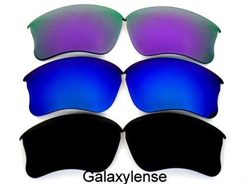 Galaxylense Ersatzgläser für Oakley Flak Jacket XLJ schwarz & blau & lila Farbe Polarisierend 3 Paar,GRATIS S & H - schwarz & blau & lila