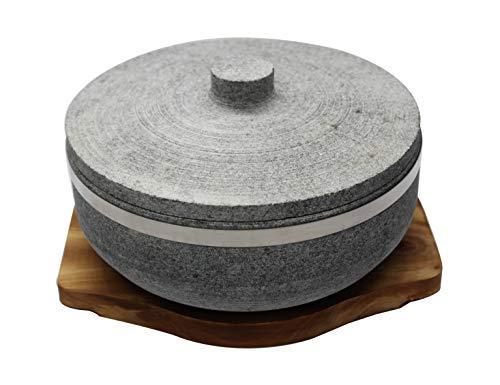 Dolsot Bibimbap Schalen aus Naturstein (eine Holzbasis + ein Steindeckel + ein Paar Kochhandschuhe), Kochen koreanischer Suppe und Lebensmittel. - Koreanisch Kochen-stein