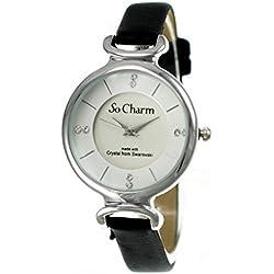 Black So Charm Bracelet Ladies Watch Made with SWAROVSKI CRYSTAL from