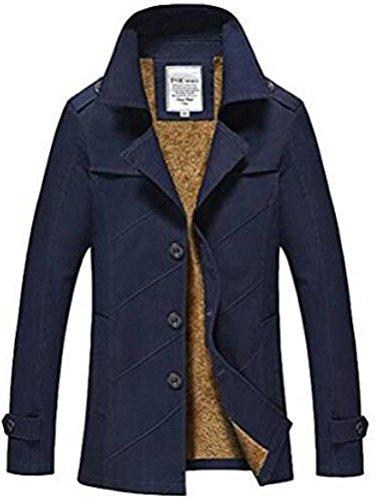 MatchLife Herren Einreihig Trenchcoat Reverskragen Mantel Cabanjacke Style2-Navy Blau Fur