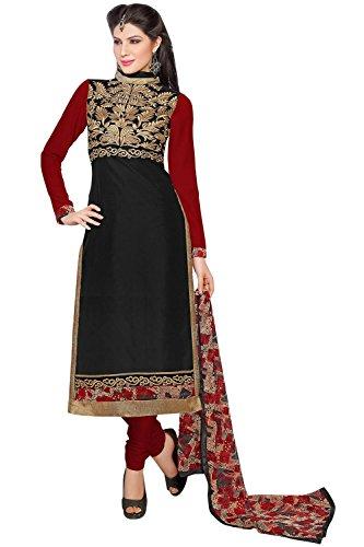 pakiza design new red black chanderi cotton partywear salwar suit dress material