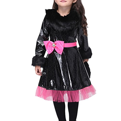 ids Black Reflective Fabric Costume Cat Girl Cosplay Fancy Dress Clothing With Head Wear (Black Girl Perücken)