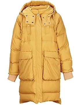 lime Abrigo con capucha de invierno con cremallera Ocio Abrigo de algodón caliente Mujeres Secciones largas Abrigo...