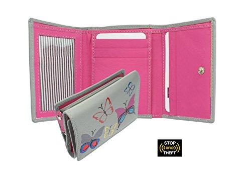 Portafoglio da Donna Compatto in Pelle Mala Leather Collezione MIMOSA - Protezione RFID 3284_83 Grigio Grigio