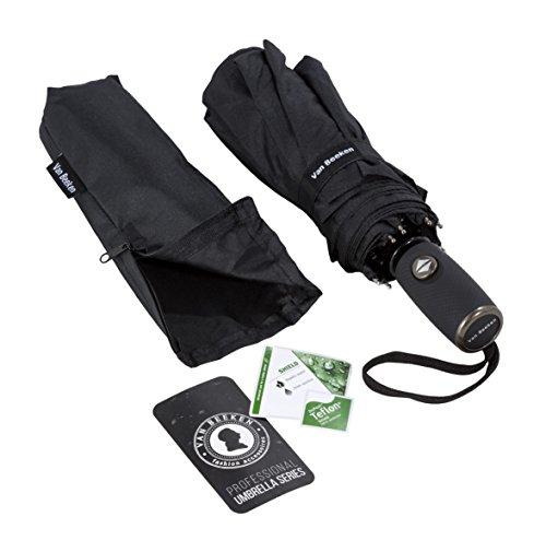 Regenschirm Taschenschirm - VAN BEEKEN - windfest sturmfest 140 km/h klein leicht kompakt - stabiler Schirm mit Auf Zu Automatik, 95cm Schwarz
