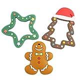 Promise Babe 3pc Bambino Giocattoli Dentizione in Silicone Albero di Natale Gingerbread Man Collana Pendente Gioielli da Infermiera Accessori da Masticare Regalo Doccia Giocattolo Montessori