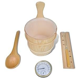 Set d'accessoires de sauna 5 pièces seau/ insert/ louche/ sablier /thermo-hygromètre