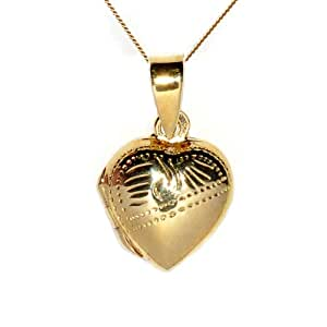 Ornami Glamour Gold Plated Sterling Silver Heart Locket Half Engraved, 12mm Heart, 46cm Chain