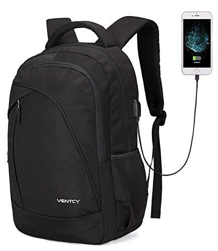 VENTCY 15,6 Zoll Laptop Rucksack Damen Herren Schulrucksack Jungen Teenager Studenten Rucksack Uni Backpack Wasserabweisend mit USB Ladeanschluss und Kabel