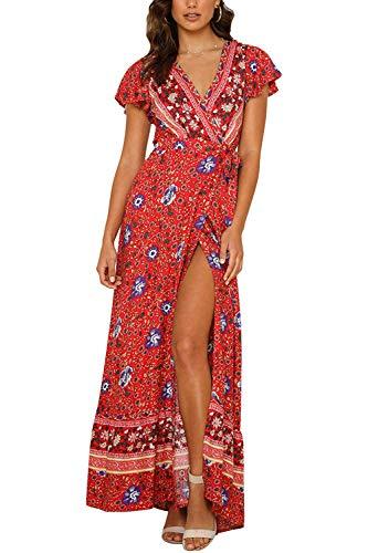 Cindeyar Kleider Boho Sommerkleid V-Ausschnitt Damen Vintage Strand Blumen Maxikleid Kurzarm Strandkleid Lang mit Schlitz(rd,m)