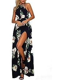 2eb9c0a0f499c POINGS Donna Estivo Vestito Lungo da Spiaggia Abito Floreale Halterneck  Vestiti con Spacco