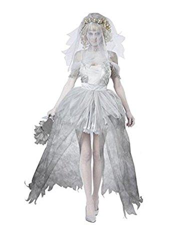 Witch Erwachsene Kostüme (SHUNLIU Halloween Kostüm Damen Geisterbraut Kostüm für Halloween Karneval Fasching Kleid mit Schleier Cosplay)
