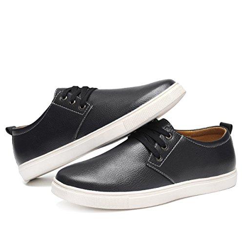Zapatos Negro Negro Caballeros Cuero Mano De Grrong tqEAwf