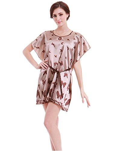 Menschwear Damen Nightgown Schlaf T-Shirt Schlaf Shirt Scoopneck Kurzarm Nachtwäsche Kaffee