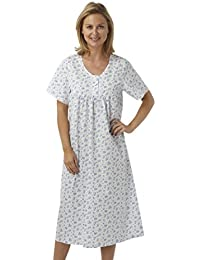 cb21b7630e Marlon Ladies Short Sleeved Long Poly Cotton Nightdress. Blue