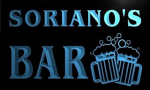 w001891-b SORIANO'S Nom Accueil Bar Pub Beer Mugs Cheers Neon Sign Biere Enseigne Lumineuse