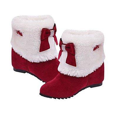 Wuyulunbi@ Scarpe Donna Winter Snow Boots Stivali Tacco Pudgy Round Bow Bow Borgogna Nero Cammello US7.5 / EU38 / UK5.5 / CN38